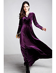 BAIGE Women's Fashion V Neck Long Sleeve Purple Long Dress