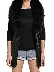 ZhuLanChao®Women's Cardigan Vest Vest Imitation Fur Vest