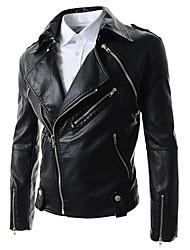 Seegal Men's Fresh Distinctive Bodycon Lapel Neck Short Pattern Leather Coat