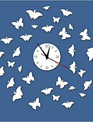 3D DIY Modern Style New Butterflys Mirror Wall Clock