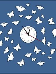 Reloj 3d bricolaje estilo moderno nuevo espejo mariposas pared