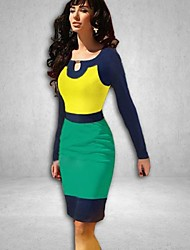 Women's Color Block Dress , Sexy/Bodycon/Casual/Party/Work/Plus Sizes U Neck Long Sleeve