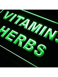 M031 vitaminas signo hierbas luz de neón