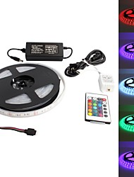 Waterproof 5M 300x5050SMD RGB LED Strip Light with 24-Key Remote Controller and AC Adapter Set (US Plug 100-240V)