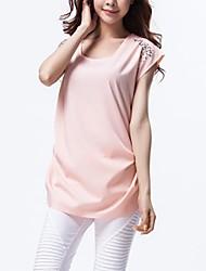 Women's Blue/Pink Blouse Short Sleeve