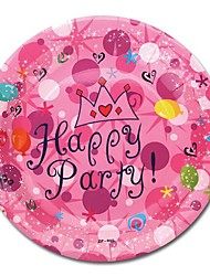 Coway 50pcs 7*7 The Birthday Party Pink Crown One-Time Plate Fruit Cake Paper Dish