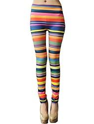 Women's Fashion Rainbow Stripes Leggings