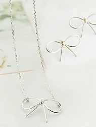 Simple Bow Earrings Necklace Set