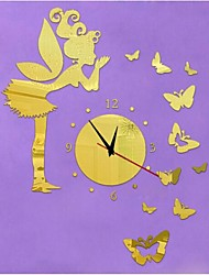 3D DIY Modern Style New Angel Butterflys Mirror Wall Clock