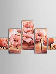 Hand Painted Oil Painting Floral Pink Flowers for Lobby with Stretched Frame Set of 5
