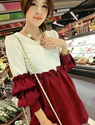 Maternity's Fashion Leisure Loose Splice Lace Long Sleeve Maternity Dress