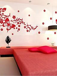 3d miroir stickers muraux sticker mural, fleurs de papillon autocollant de mur acrylique