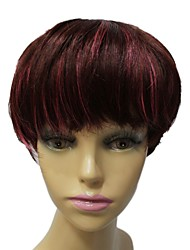 grau superior sem tampa sintética mista cor curto ondulado peruca estrondo completo sintético