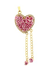 ZP 64GB Rose Flowers Heart Pattern Bling Diamond Metal Style USB Flash Drive