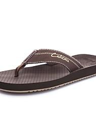 Sapatos Masculinos - Chinelos - Preto / Marrom - Courino - Casual