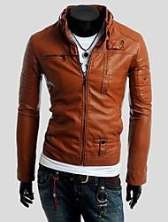 botão MULTI zíper jaquetas de couro colar motocicleta dos homens