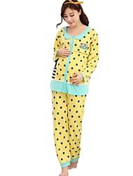 Maternity's Fashion Leisure Wave Point Pajamas Clothing Set