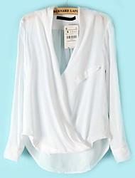 branca de manga longa frente cruz das mulheres sheinside mergulhado blusa hem