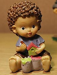 muñeca europeo lindo con grandes ojos y rizos de chocolate para los juguetes de resina decoración de la mesa