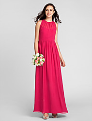 Lanting Bride® Floor-length Chiffon Bridesmaid Dress Sheath / Column Jewel Plus Size / Petite with Draping