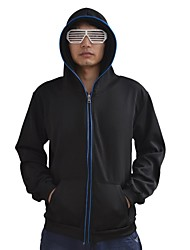 Men's Black Light Up Hoodie with Blue EL Wire LED Glow Flashing Party Bar Raver Festival Long Sleeve 2AA Batteries