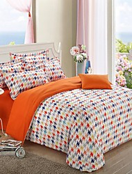 H&C ®  Thicken Cotton Sanded Fabric Duvet Cover Set  4 Pieces  Checker Pattern Black White Blue Multi-Color