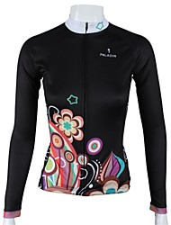 PaladinSport Women's Long Sleeve Cycling Jersey Black Night Flower  Spring and Summer Style 100% Polyester