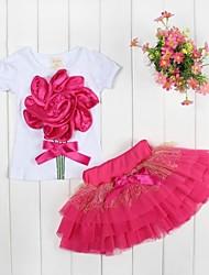 Girl's Large Flower Girl T-shirt + Veil Tutu Skirt Suit Cute Party Kids Clothing  Sets