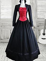 lange mouw vloer-lengte rode en zwarte katoenen gothic lolita jurk