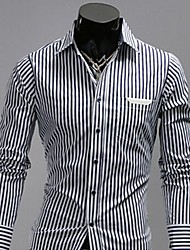 Men's Long Sleeve Shirt , Cotton/Cotton Blend Casual Striped