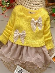 Girl's Yellow Dress,Solid Cotton Blend / Mesh Winter / Fall