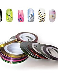12PCS Mixed Colors Rolls Striping Tape Line Nail Art Decoration Sticker