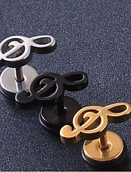European Fash Musical Note  Titanium Steel Stud Earrings(Black,Silver,Gold) (1 Pc) Christmas Gifts