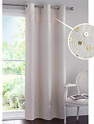 Country Neoclassical  European  Modern Two Panels Solid  Geometric Beige Living Room Curtains Drapes