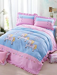 FADFAY@Modern Girls Embroidery Horse Cartoon Bedding Sets Designer Blue Kids Polka Dot Bedding Set Queen