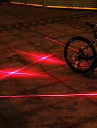 UNGROL Double Red Straight Lines+Double Cross Design 1 Laser Module 6 LED 6 Flash Mode Black Bike Warning Laser Light