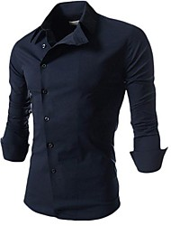 MANWAN WALK®Men's Slim Formal Side Button Shirt with Solid Color