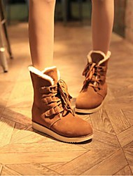 Women's Spring Winter Fashion Boots Fabric Casual Flat Heel Lace-up Black Brown Red