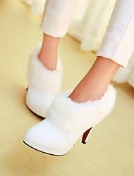 Zapatos de mujer - Tacón Stiletto - Botas a la Moda - Botas - Vestido - Cuero Sintético - Negro / Blanco