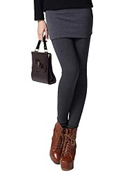 Women's False Two Piece Slim Warm Leggings With Skirt