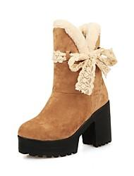 botas zapatos botas de nieve de las mujeres gruesas del talón a media pierna con bowknot más colores disponibles