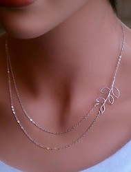 Women's Choker Necklaces Alloy Leaf Simple Style Silver Golden Jewelry Daily