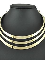 moda três camadas de liga de ouro colar