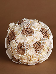 Ivory & Coffee Ribbon Roses with Pearls Wedding Bouquet