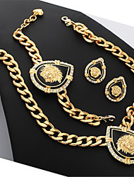 With Gift Box Women's Lion Head Necklace Bracelet Earrings Set 18K Gold Plated Rhinestone Jewelry for Women