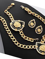 com caixa de presente das mulheres cabeça de leão colar pulseira set 18k banhado a ouro jóias de strass para mulheres