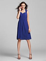 Knee-length Chiffon Bridesmaid Dress - Royal Blue Plus Sizes Sheath/Column Sweetheart