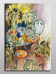Hand Painted Oil Painting Floral Courtyard Colors by Annelein Beukenkamp with Stretched Frame