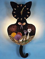 luz de parede gato preto com relógio