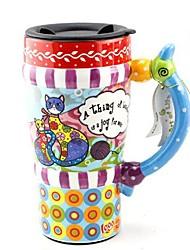 Qiandu chat maman et bébé peintes tasse avec couvercle pour cadeau, peinture sur céramique, 450ml